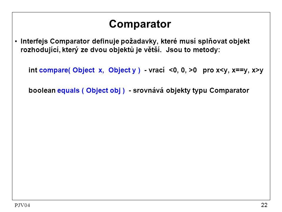 PJV0422 Comparator •Interfejs Comparator definuje požadavky, které musí splňovat objekt rozhodující, který ze dvou objektů je větší. Jsou to metody: i