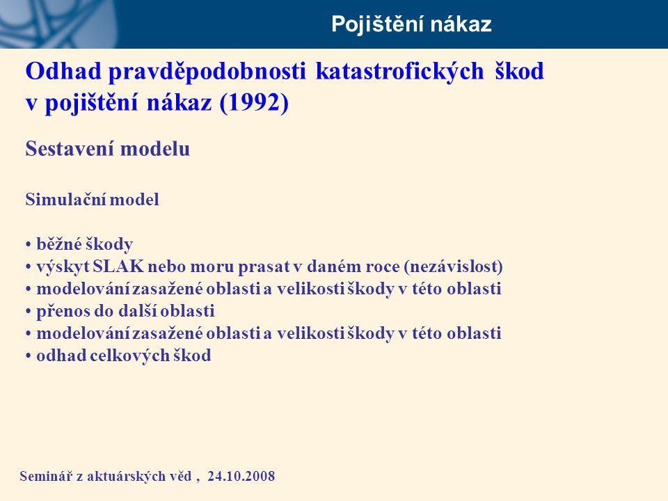 Seminář z aktuárských věd, 24.10.2008 Pojištění nákaz Odhad pravděpodobnosti katastrofických škod v pojištění nákaz (1992) Sestavení modelu Simulační