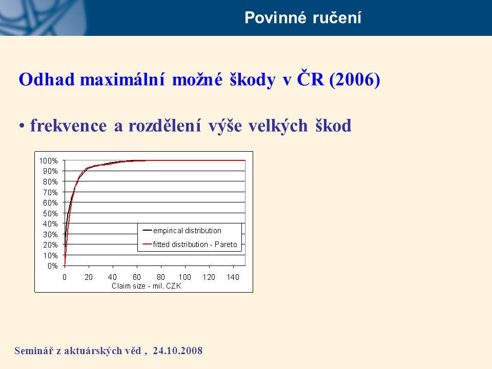 Seminář z aktuárských věd, 24.10.2008 Povinné ručení Odhad maximální možné škody v ČR (2006) • frekvence a rozdělení výše velkých škod