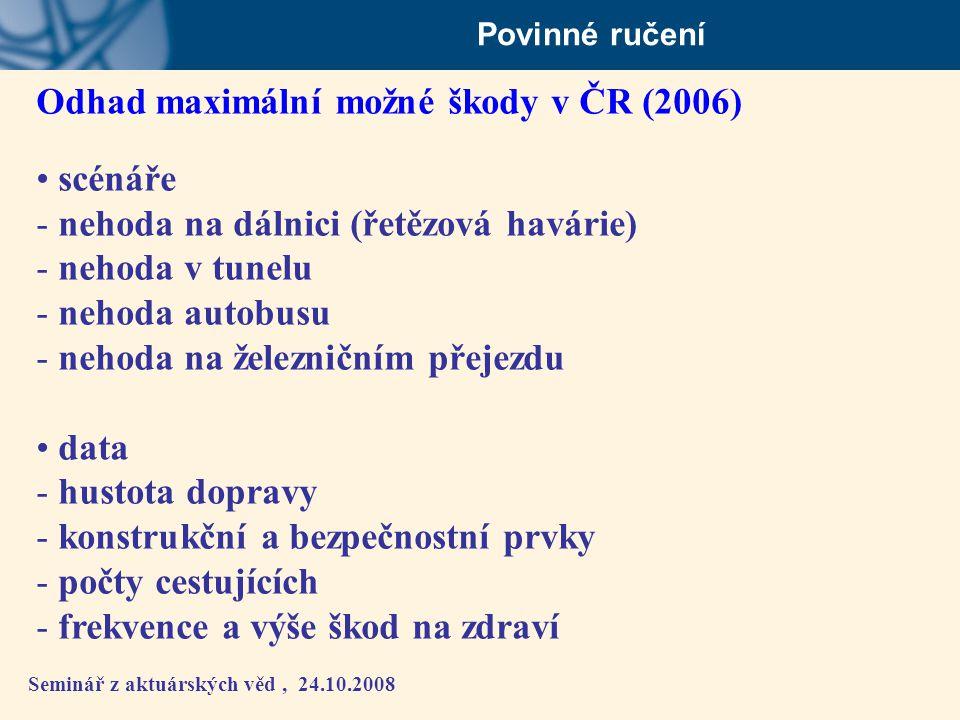 Seminář z aktuárských věd, 24.10.2008 Povinné ručení Odhad maximální možné škody v ČR (2006) • scénáře - nehoda na dálnici (řetězová havárie) - nehoda