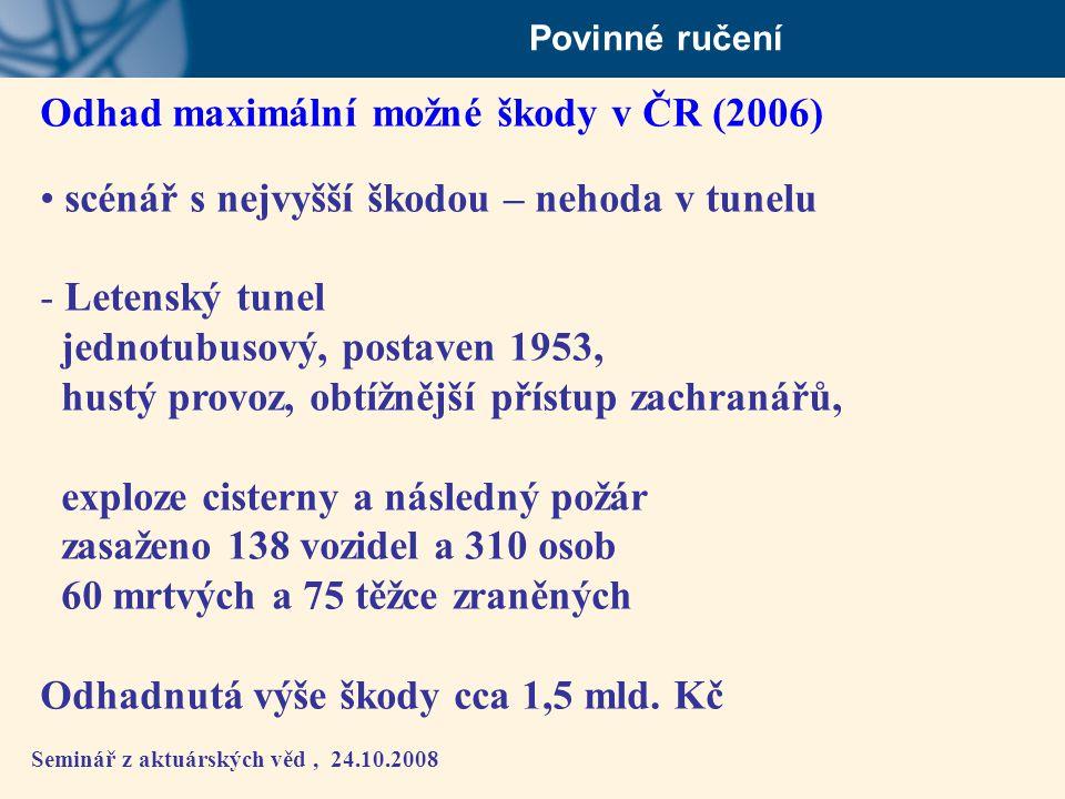Seminář z aktuárských věd, 24.10.2008 Povinné ručení Odhad maximální možné škody v ČR (2006) • scénář s nejvyšší škodou – nehoda v tunelu - Letenský t
