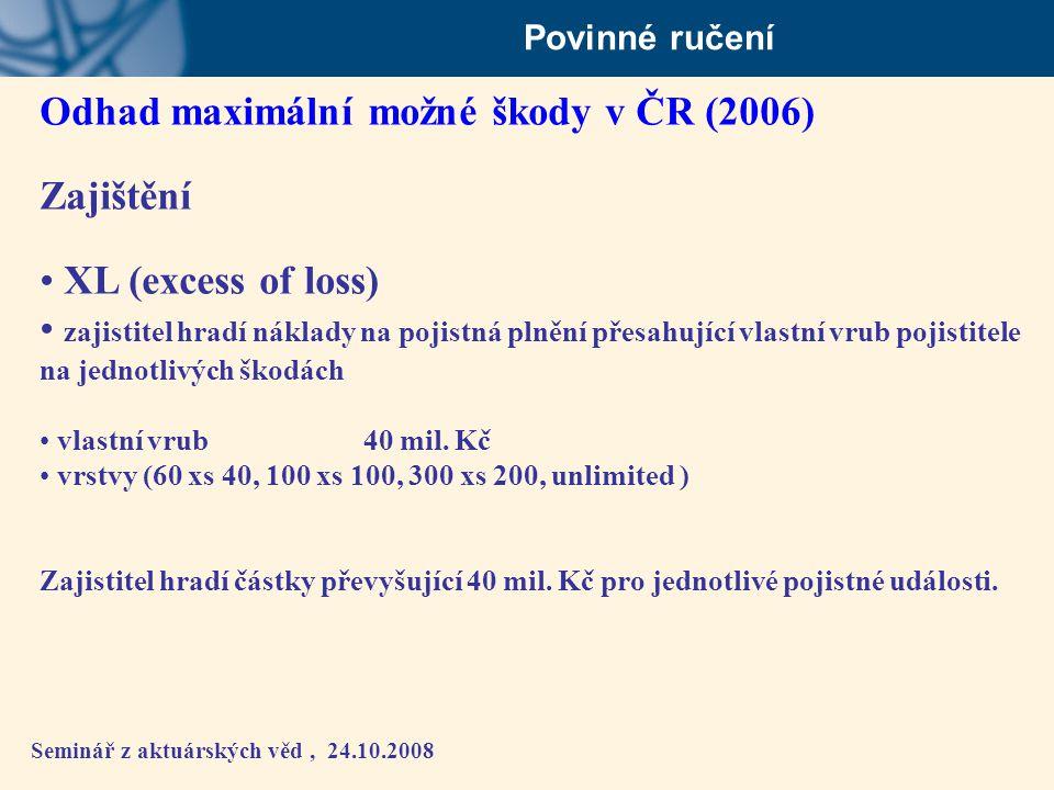 Seminář z aktuárských věd, 24.10.2008 Povinné ručení Odhad maximální možné škody v ČR (2006) Zajištění • XL (excess of loss) • zajistitel hradí náklad