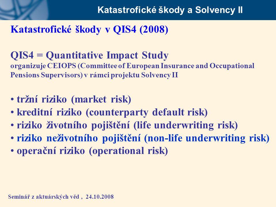 Seminář z aktuárských věd, 24.10.2008 Katastrofické škody a Solvency II Katastrofické škody v QIS4 (2008) QIS4 = Quantitative Impact Study organizuje