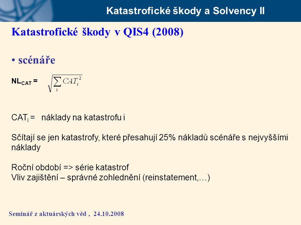 Seminář z aktuárských věd, 24.10.2008 Katastrofické škody a Solvency II Katastrofické škody v QIS4 (2008) • scénáře NL CAT = CAT i = náklady na katast