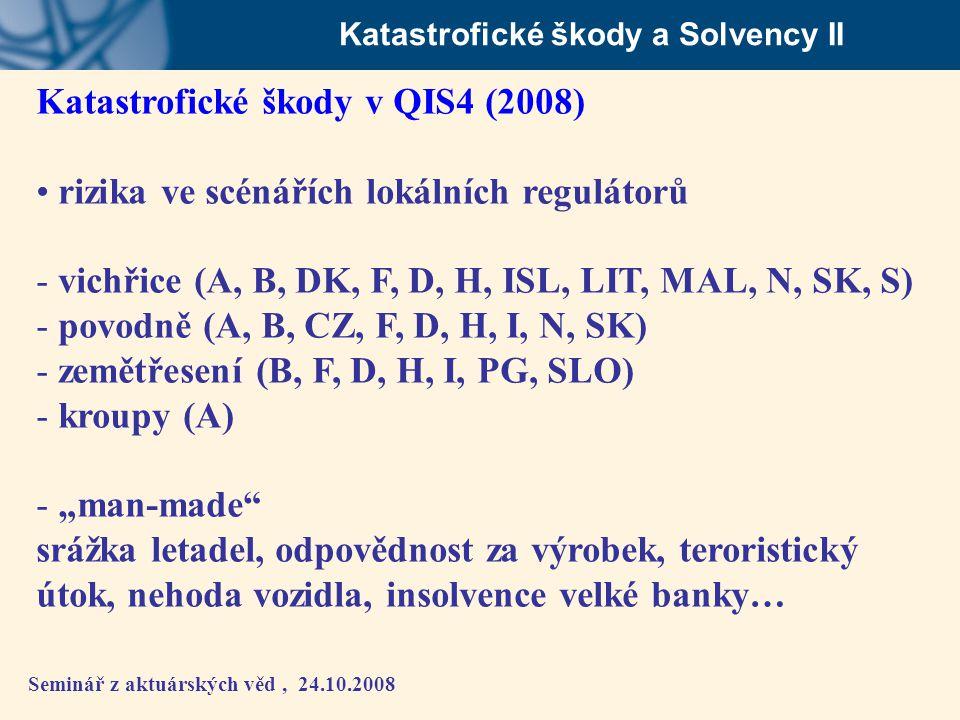 Seminář z aktuárských věd, 24.10.2008 Katastrofické škody a Solvency II Katastrofické škody v QIS4 (2008) • rizika ve scénářích lokálních regulátorů -
