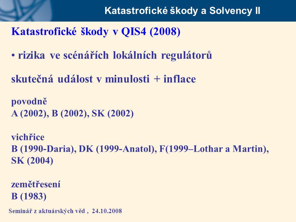 Seminář z aktuárských věd, 24.10.2008 Katastrofické škody a Solvency II Katastrofické škody v QIS4 (2008) • rizika ve scénářích lokálních regulátorů s