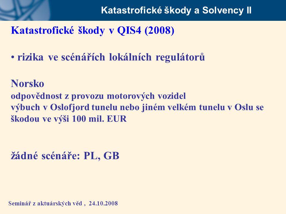 Seminář z aktuárských věd, 24.10.2008 Katastrofické škody a Solvency II Katastrofické škody v QIS4 (2008) • rizika ve scénářích lokálních regulátorů N