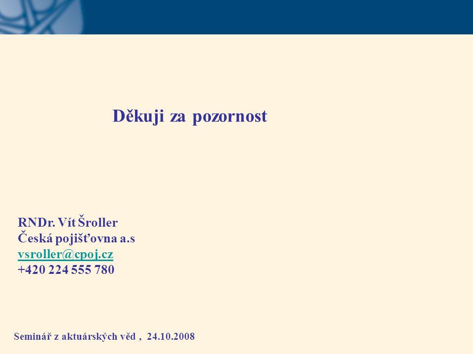 Seminář z aktuárských věd, 24.10.2008 Děkuji za pozornost RNDr. Vít Šroller Česká pojišťovna a.s vsroller@cpoj.cz +420 224 555 780