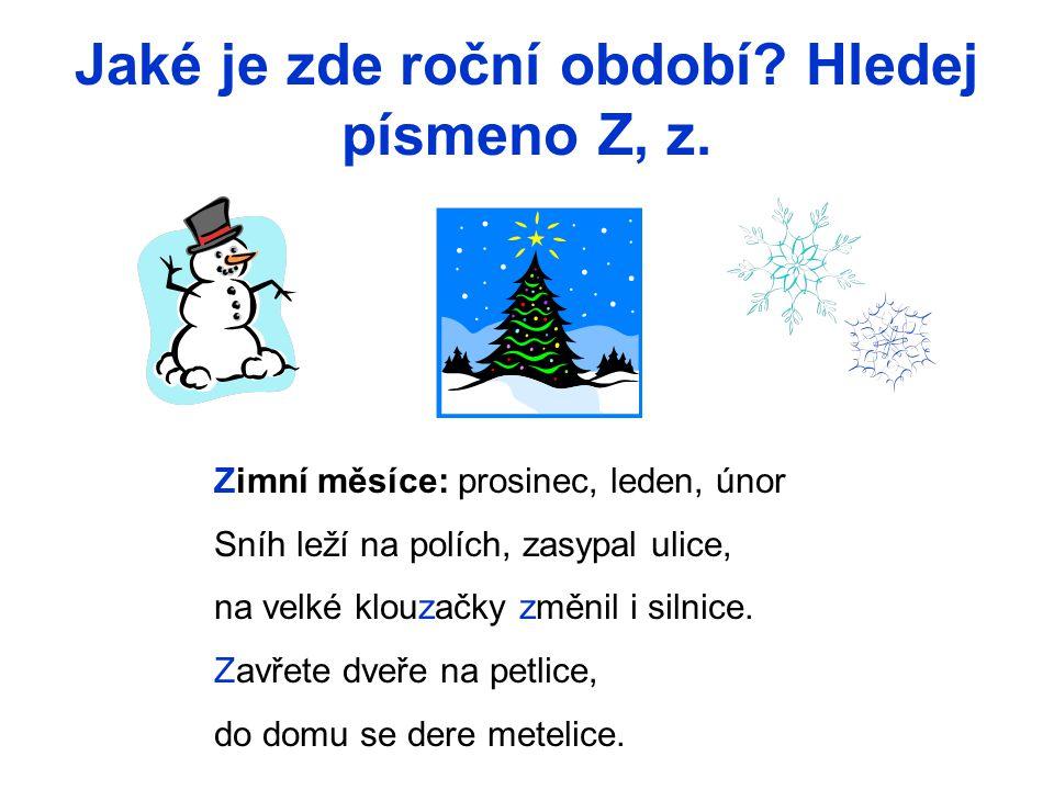 Jaké je zde roční období? Hledej písmeno Z, z. Zimní měsíce: prosinec, leden, únor Sníh leží na polích, zasypal ulice, na velké klouzačky změnil i sil