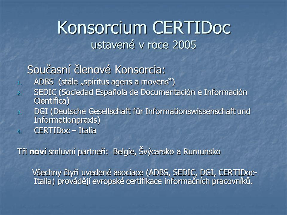Konsorcium CERTIDoc ustavené v roce 2005 Současní členové Konsorcia: Současní členové Konsorcia: 1.