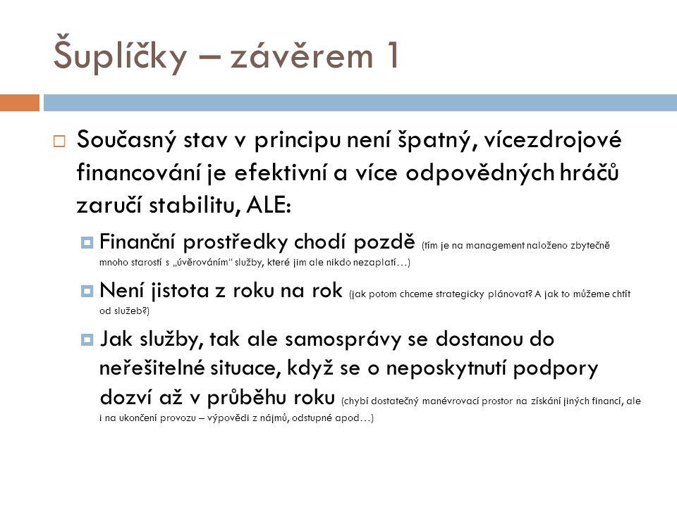 Šuplíčky – závěrem 1  Současný stav v principu není špatný, vícezdrojové financování je efektivní a více odpovědných hráčů zaručí stabilitu, ALE:  F