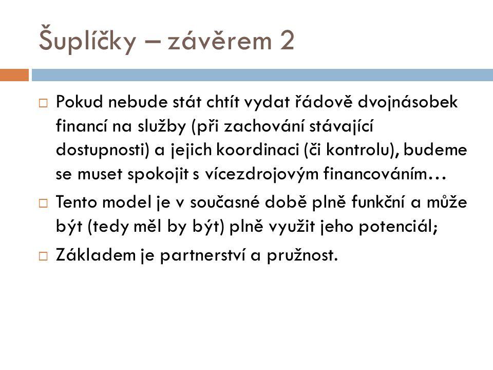 Šuplíčky – závěrem 2  Pokud nebude stát chtít vydat řádově dvojnásobek financí na služby (při zachování stávající dostupnosti) a jejich koordinaci (č