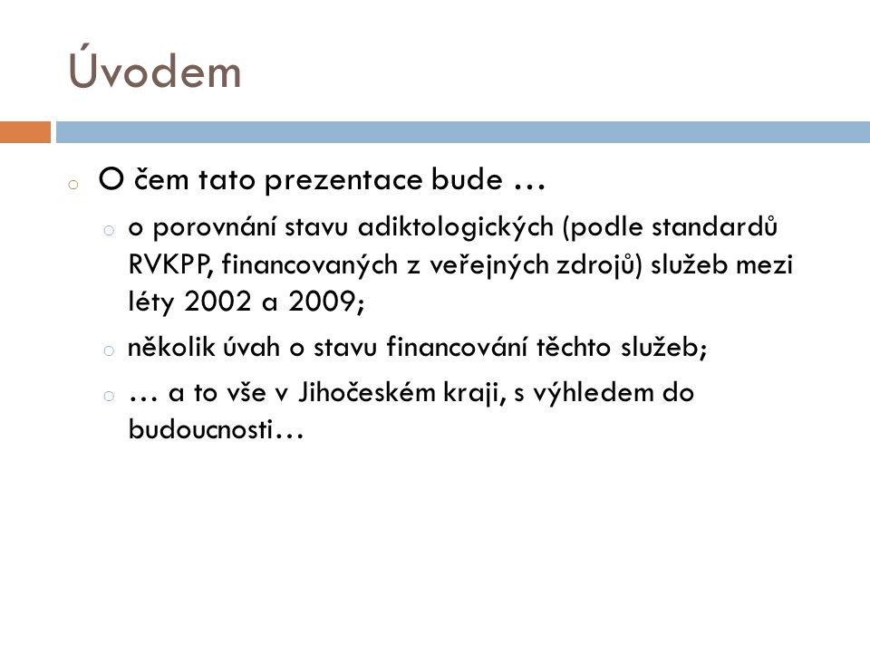 Úvodem o O čem tato prezentace bude … o o porovnání stavu adiktologických (podle standardů RVKPP, financovaných z veřejných zdrojů) služeb mezi léty 2