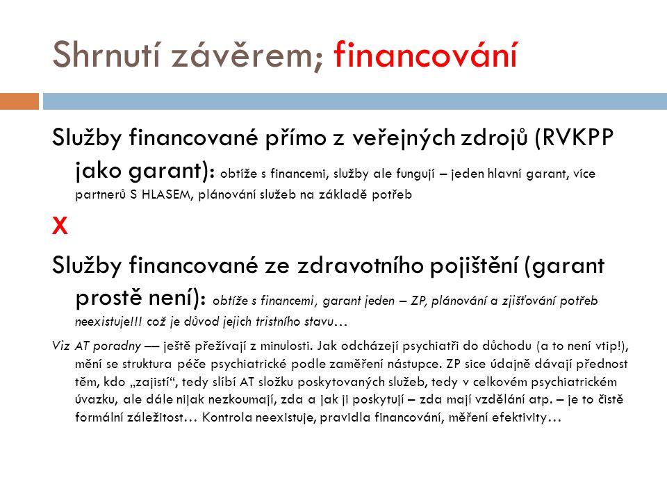 Shrnutí závěrem; financování Služby financované přímo z veřejných zdrojů (RVKPP jako garant): obtíže s financemi, služby ale fungují – jeden hlavní ga