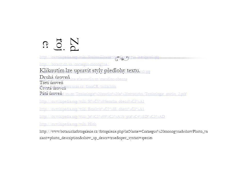 Kliknutím lze upravit styly předlohy textu. Druhá úroveň Třetí úroveň Čtvrtá úroveň Pátá úroveň Zd roj e: http://cs.wikipedia.org/wiki/Soubor:Illustra
