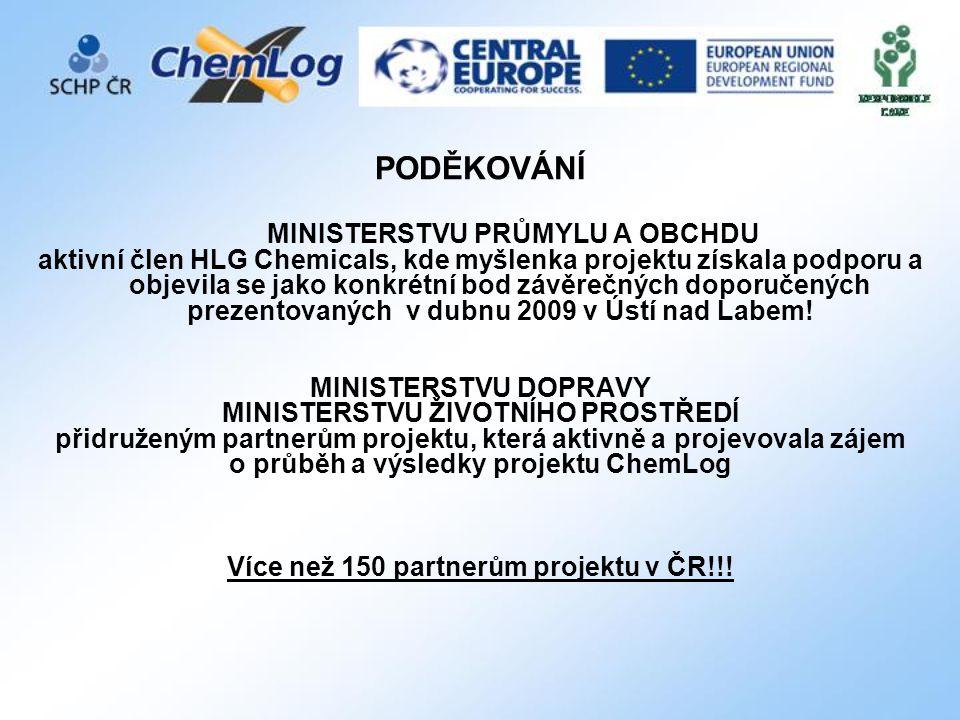 PODĚKOVÁNÍ MINISTERSTVU PRŮMYLU A OBCHDU aktivní člen HLG Chemicals, kde myšlenka projektu získala podporu a objevila se jako konkrétní bod závěrečných doporučených prezentovaných v dubnu 2009 v Ústí nad Labem.