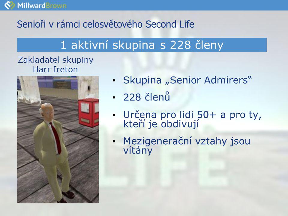 """Senioři v rámci celosvětového Second Life • Skupina """"Senior Admirers • 228 členů • Určena pro lidi 50+ a pro ty, kteří je obdivují • Mezigenerační vztahy jsou vítány 1 aktivní skupina s 228 členy Zakladatel skupiny Harr Ireton"""
