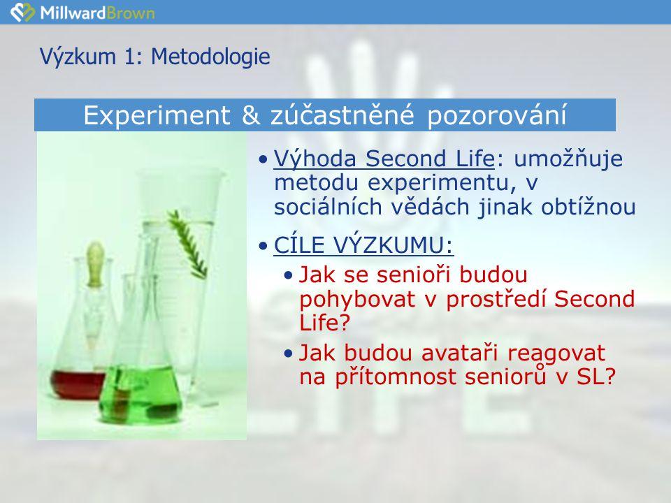 Výzkum 1: Metodologie •Výhoda Second Life: umožňuje metodu experimentu, v sociálních vědách jinak obtížnou •CÍLE VÝZKUMU: •Jak se senioři budou pohybovat v prostředí Second Life.