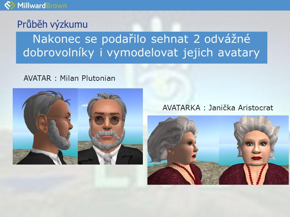 Průběh výzkumu •s•s AVATARKA : Janička Aristocrat AVATAR : Milan Plutonian Nakonec se podařilo sehnat 2 odvážné dobrovolníky i vymodelovat jejich avatary