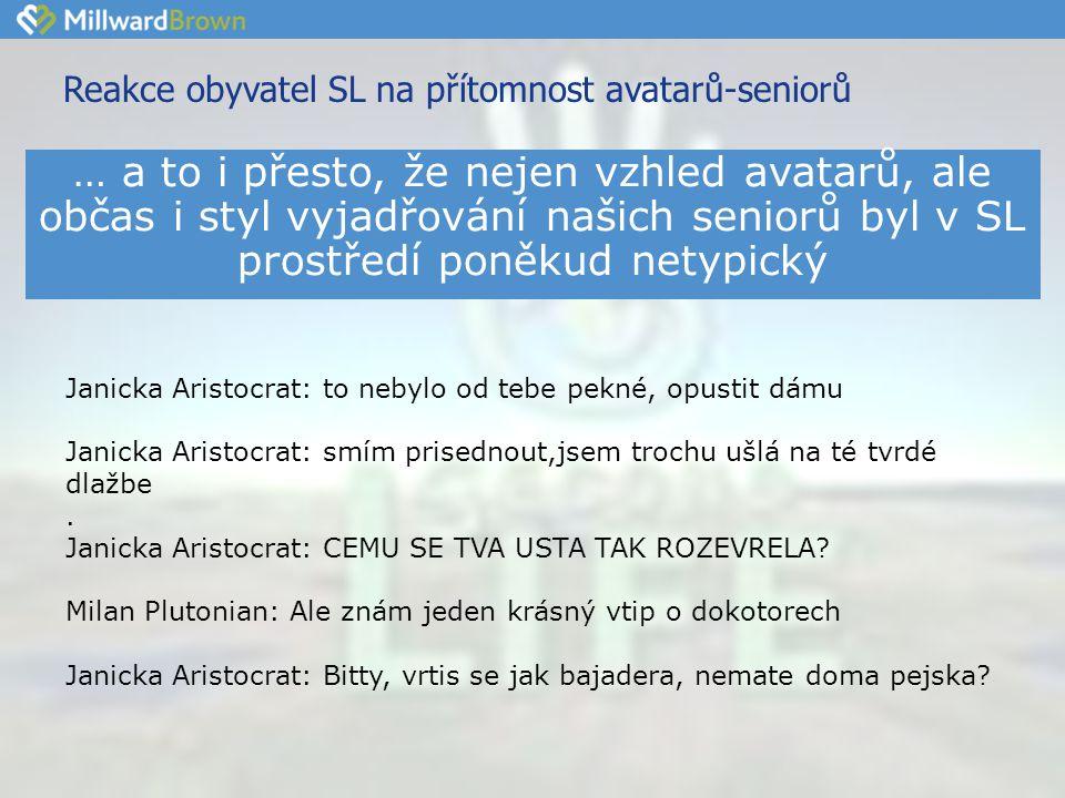 Reakce obyvatel SL na přítomnost avatarů-seniorů Janicka Aristocrat: to nebylo od tebe pekné, opustit dámu Janicka Aristocrat: smím prisednout,jsem trochu ušlá na té tvrdé dlažbe.