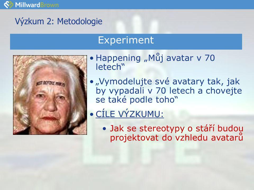 """Výzkum 2: Metodologie •Happening """"Můj avatar v 70 letech •""""Vymodelujte své avatary tak, jak by vypadali v 70 letech a chovejte se také podle toho •CÍLE VÝZKUMU: •Jak se stereotypy o stáří budou projektovat do vzhledu avatarů Experiment"""