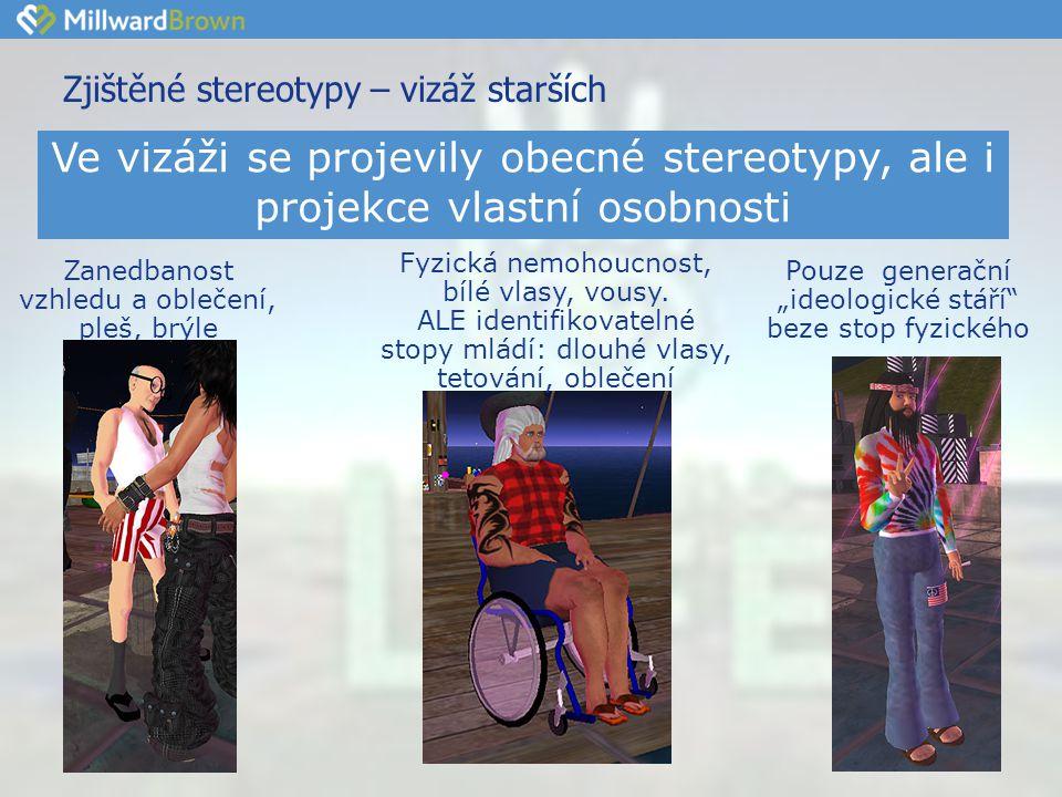 Zjištěné stereotypy – vizáž starších Zanedbanost vzhledu a oblečení, pleš, brýle Fyzická nemohoucnost, bílé vlasy, vousy.