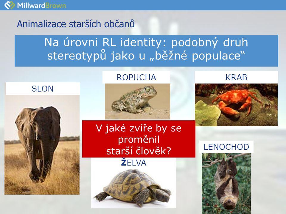 Animalizace starších občanů KRAB LENOCHOD SLON ŽELVA ROPUCHA V jaké zvíře by se proměnil starší člověk.