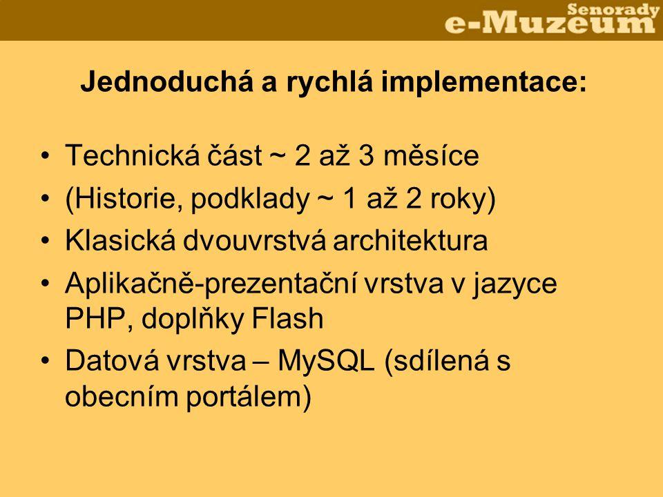Jednoduchá a rychlá implementace: •Technická část ~ 2 až 3 měsíce •(Historie, podklady ~ 1 až 2 roky) •Klasická dvouvrstvá architektura •Aplikačně-prezentační vrstva v jazyce PHP, doplňky Flash •Datová vrstva – MySQL (sdílená s obecním portálem)