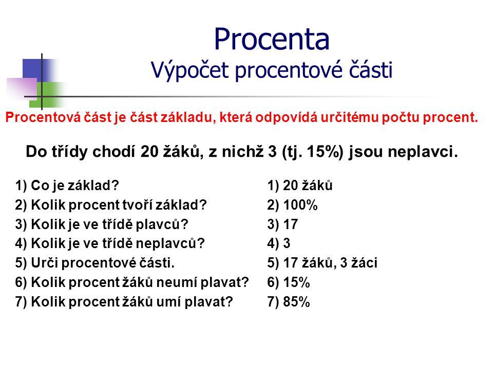 Procenta Výpočet procentové části Procentová část je část základu, která odpovídá určitému počtu procent. Do třídy chodí 20 žáků, z nichž 3 (tj. 15%)