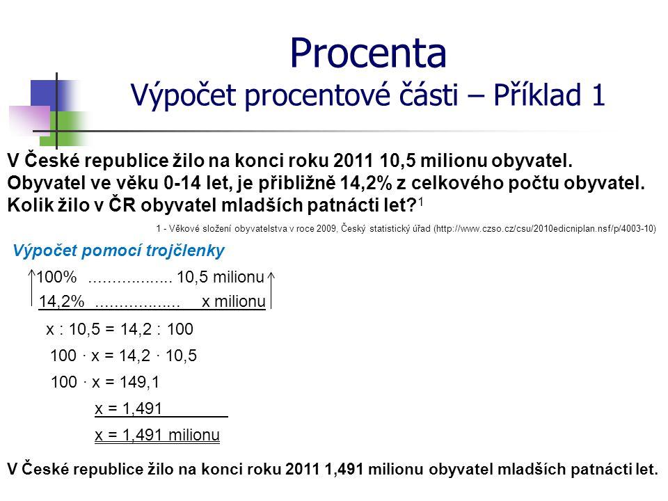 Procenta Výpočet procentové části – Příklad 1 V České republice žilo na konci roku 2011 10,5 milionu obyvatel. Obyvatel ve věku 0-14 let, je přibližně