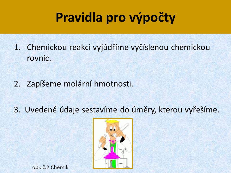 Pravidla pro výpočty 1.Chemickou reakci vyjádříme vyčíslenou chemickou rovnic. 2. Zapíšeme molární hmotnosti. 3. Uvedené údaje sestavíme do úměry, kte