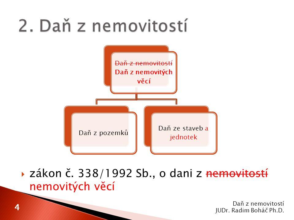  zákon č. 338/1992 Sb., o dani z nemovitostí nemovitých věcí Daň z nemovitostí JUDr.