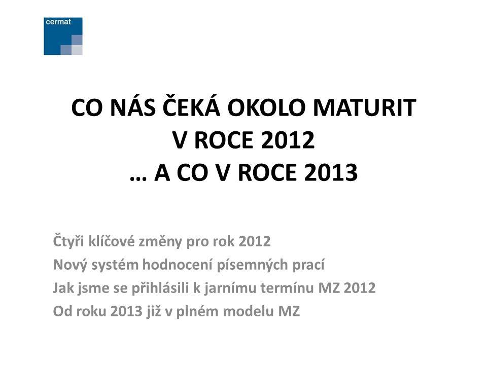 CO NÁS ČEKÁ OKOLO MATURIT V ROCE 2012 … A CO V ROCE 2013 Čtyři klíčové změny pro rok 2012 Nový systém hodnocení písemných prací Jak jsme se přihlásili