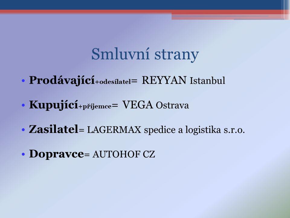 Smluvní strany •Prodávající +odesílatel = REYYAN Istanbul •Kupující +příjemce = VEGA Ostrava •Zasilatel = LAGERMAX spedice a logistika s.r.o.