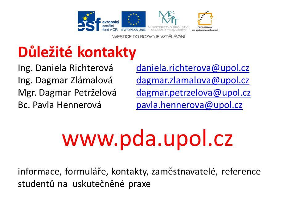 Důležité kontakty Ing. Daniela Richterová daniela.richterova@upol.cz Ing. Dagmar Zlámalovádagmar.zlamalova@upol.cz Mgr. Dagmar Petrželovádagmar.petrze
