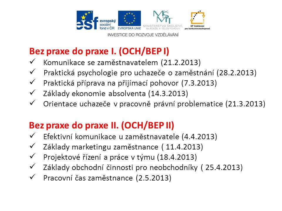 Bez praxe do praxe I. (OCH/BEP I)  Komunikace se zaměstnavatelem (21.2.2013)  Praktická psychologie pro uchazeče o zaměstnání (28.2.2013)  Praktick