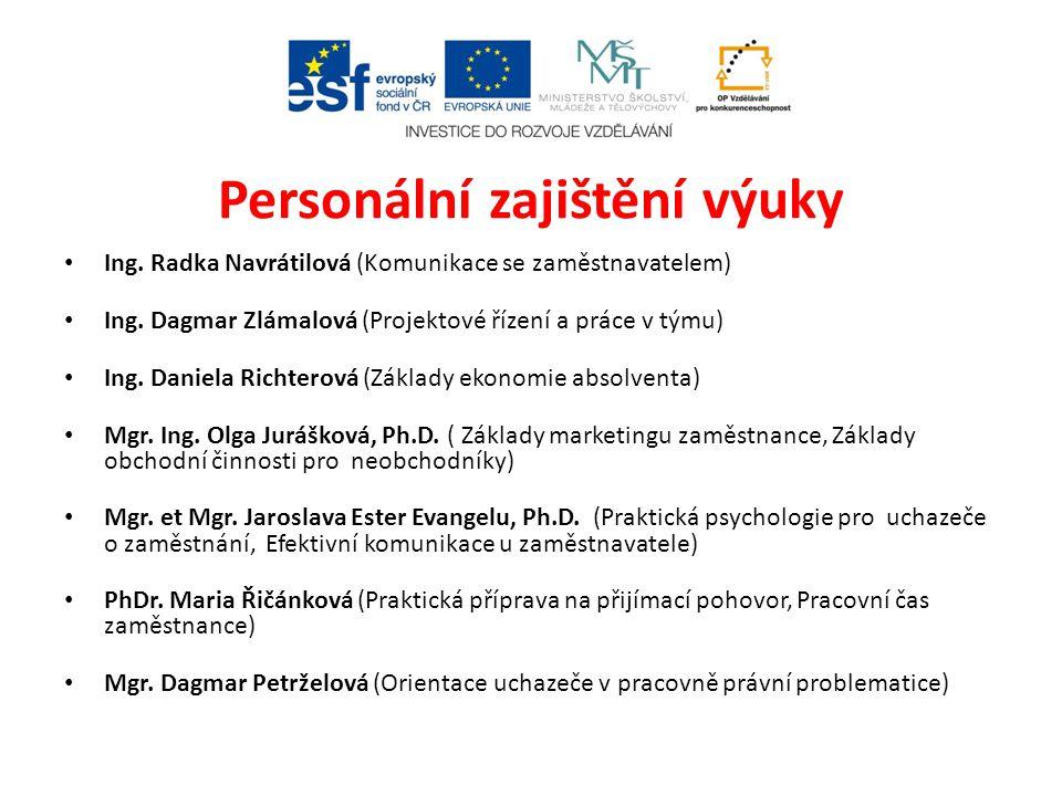 Personální zajištění výuky • Ing. Radka Navrátilová (Komunikace se zaměstnavatelem) • Ing. Dagmar Zlámalová (Projektové řízení a práce v týmu) • Ing.