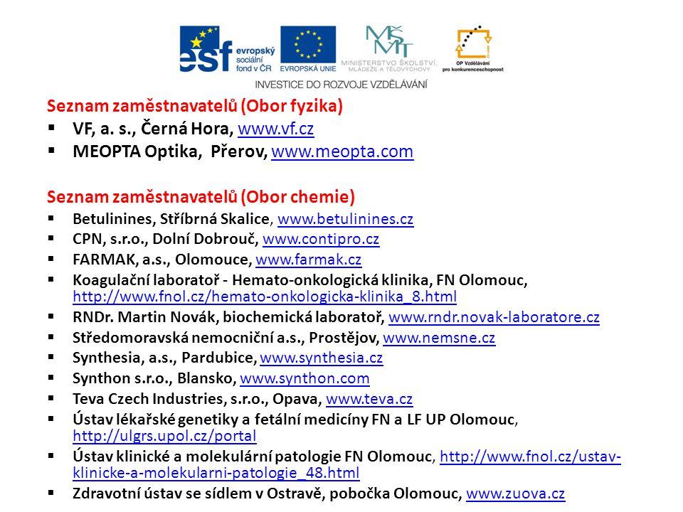 Seznam zaměstnavatelů (Obor fyzika)  VF, a. s., Černá Hora, www.vf.czwww.vf.cz  MEOPTA Optika, Přerov, www.meopta.comwww.meopta.com Seznam zaměstnav