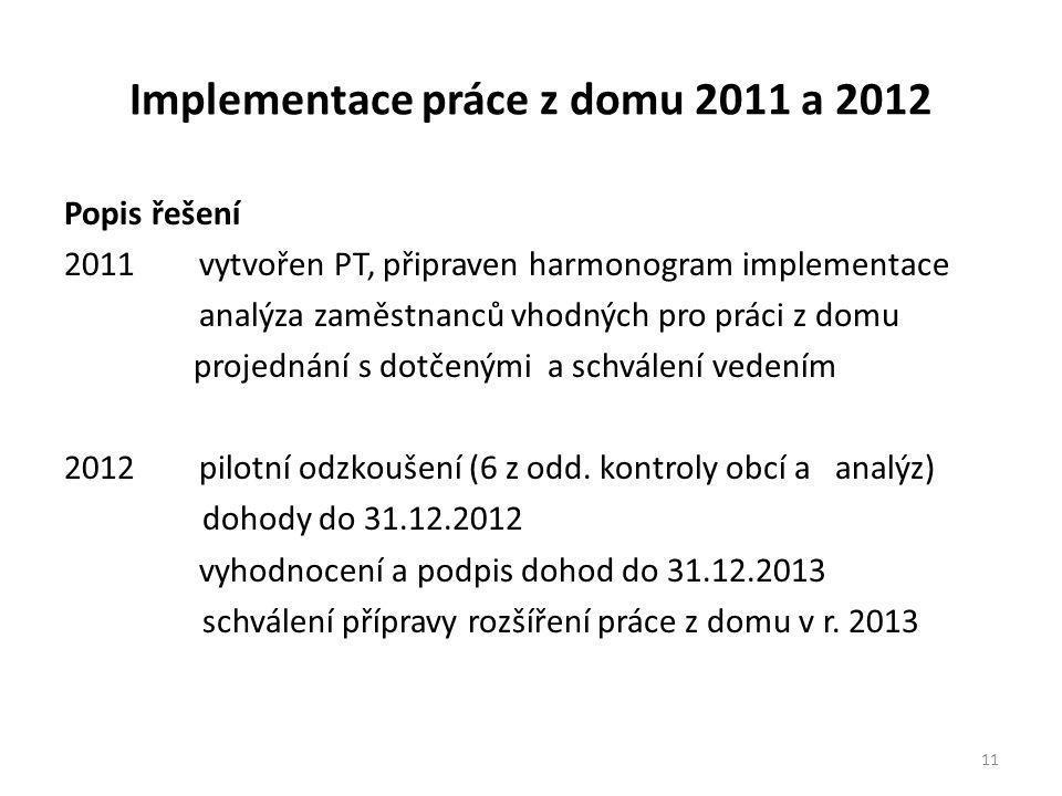 Implementace práce z domu 2011 a 2012 Popis řešení 2011 vytvořen PT, připraven harmonogram implementace analýza zaměstnanců vhodných pro práci z domu projednání s dotčenými a schválení vedením 2012 pilotní odzkoušení (6 z odd.
