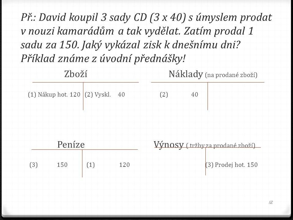 Př.: David koupil 3 sady CD (3 x 40) s úmyslem prodat v nouzi kamarádům a tak vydělat. Zatím prodal 1 sadu za 150. Jaký vykázal zisk k dnešnímu dni? P