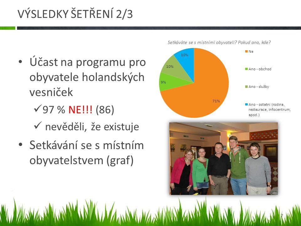 VÝSLEDKY ŠETŘENÍ 3/3 • Povědomí o jiných holandských vesničkách v Česku  NE (68 %)  ANO, ale nenavštěvují je (18 %)  ANO a navštěvují je (6 %) • Návštěvnost holandských vesniček v zahraničí  NE (98 %) • Vlastnictví objekt ubytování (viz graf) 8 Objekt ubytování: vlastní / trvalý nájem / jednorázový.