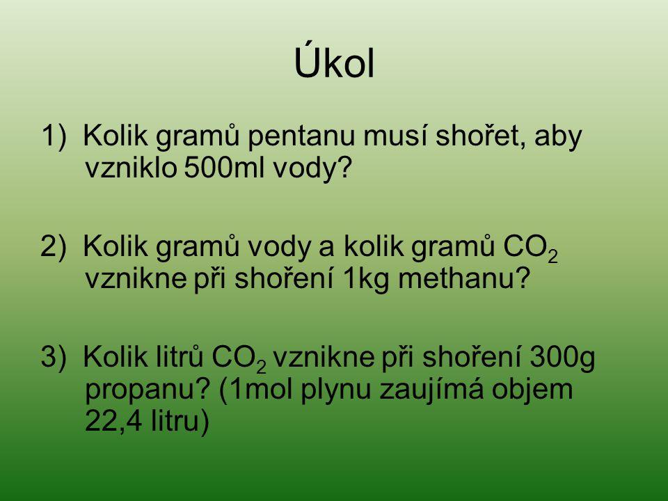 Úkol 1) Kolik gramů pentanu musí shořet, aby vzniklo 500ml vody? 2) Kolik gramů vody a kolik gramů CO 2 vznikne při shoření 1kg methanu? 3) Kolik litr