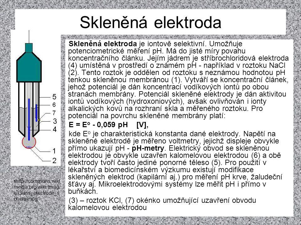 Skleněná elektroda Skleněná elektroda je iontově selektivní. Umožňuje potenciometrické měření pH. Má do jisté míry povahu koncentračního článku. Jejím