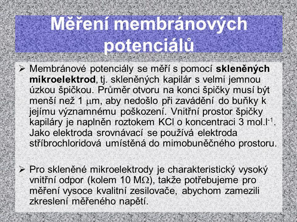 Měření membránových potenciálů  Membránové potenciály se měří s pomocí skleněných mikroelektrod, tj. skleněných kapilár s velmi jemnou úzkou špičkou.