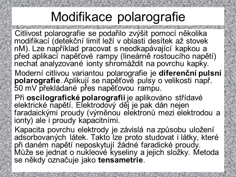 Modifikace polarografie Citlivost polarografie se podařilo zvýšit pomocí několika modifikací (detekční limit leží v oblasti desítek až stovek nM). Lze