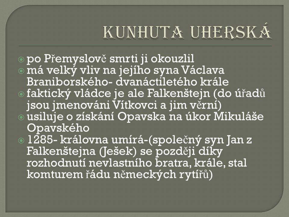  po P ř emyslov ě smrti ji okouzlil  má velký vliv na jejího syna Václava Braniborského- dvanáctiletého krále  faktický vládce je ale Falkenštejn (do ú ř ad ů jsou jmenováni Vítkovci a jim v ě rní)  usiluje o získání Opavska na úkor Mikuláše Opavského  1285- královna umírá-(spole č ný syn Jan z Falkenštejna (Ješek) se pozd ě ji díky rozhodnutí nevlastního bratra, krále, stal komturem ř ádu n ě meckých rytí řů )