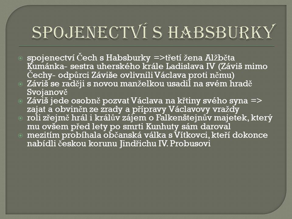  1290 Mikuláš Opavský vyrá ž í i se zajatým Závišem z Falkenštejna do ji ž ních Č ech  hrad Hluboká pat ř il Vítkovi z Krumlova, Falkenštejnovu staršímu bratrovi=> Vítek odmítl hrad vydat do Václavovy moci, a tak byl Záviš pod hradem Hluboká na pravém b ř ehu Vltavy popraven  jeho t ě lo poh ř beno v kapitulní síni ro ž mberského rodového kláštera ve Vyšším Brod ě