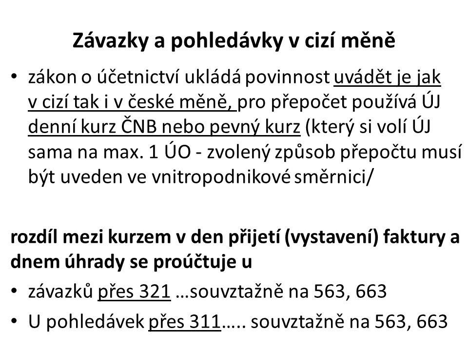 Závazky a pohledávky v cizí měně • zákon o účetnictví ukládá povinnost uvádět je jak v cizí tak i v české měně, pro přepočet používá ÚJ denní kurz ČNB