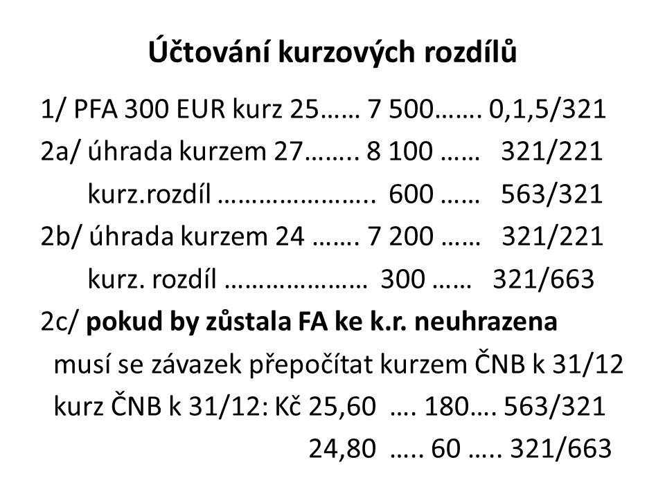 Účtování kurzových rozdílů 1/ PFA 300 EUR kurz 25…… 7 500……. 0,1,5/321 2a/ úhrada kurzem 27…….. 8 100 …… 321/221 kurz.rozdíl ………………….. 600 …… 563/321