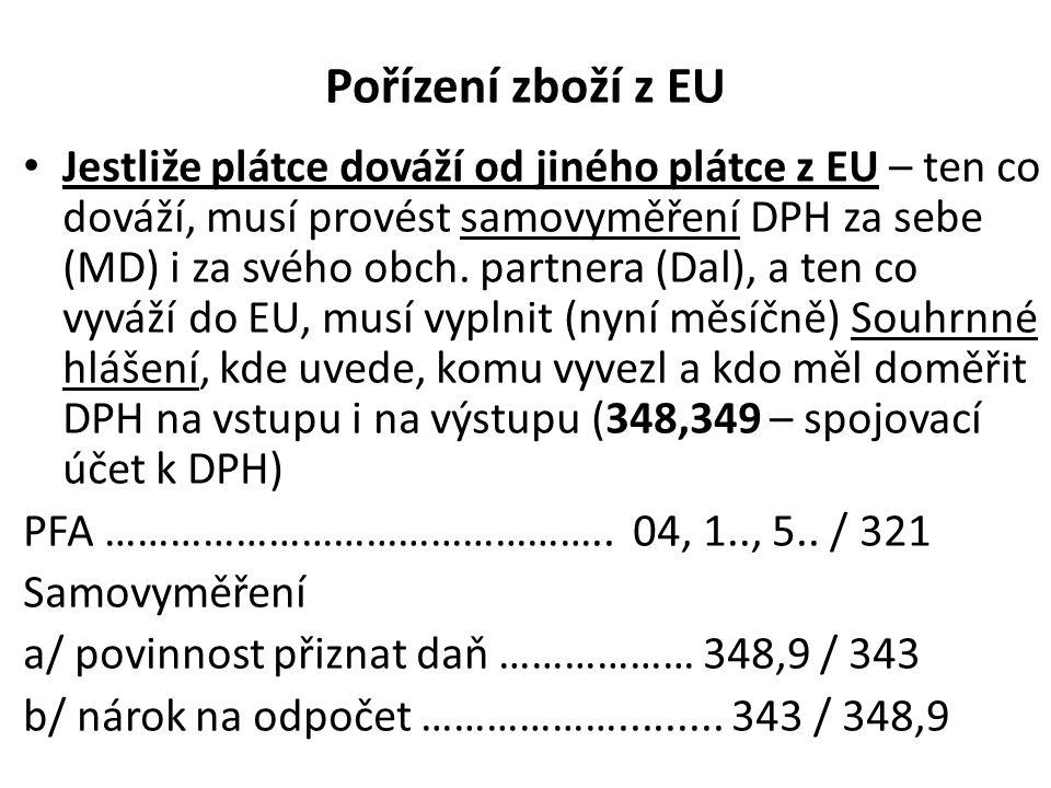 Pořízení zboží z EU • Jestliže plátce dováží od jiného plátce z EU – ten co dováží, musí provést samovyměření DPH za sebe (MD) i za svého obch. partne